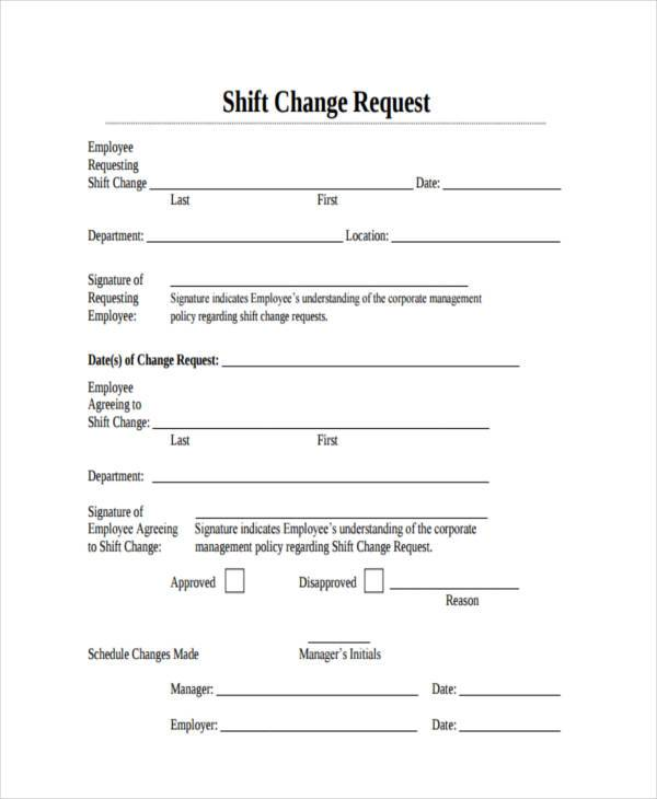 Sample Employee Shift Change Forms   Free Documents In Word Pdf