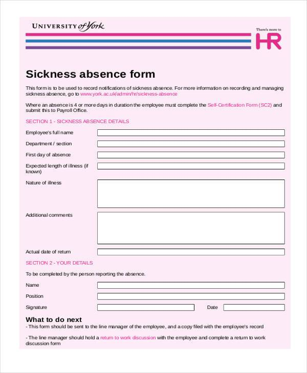 employee sickness absence form