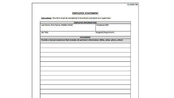 employee statement form samples 9 free documents in word pdf