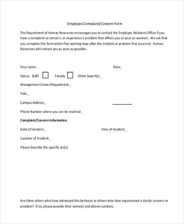 employee suggestion complaint form