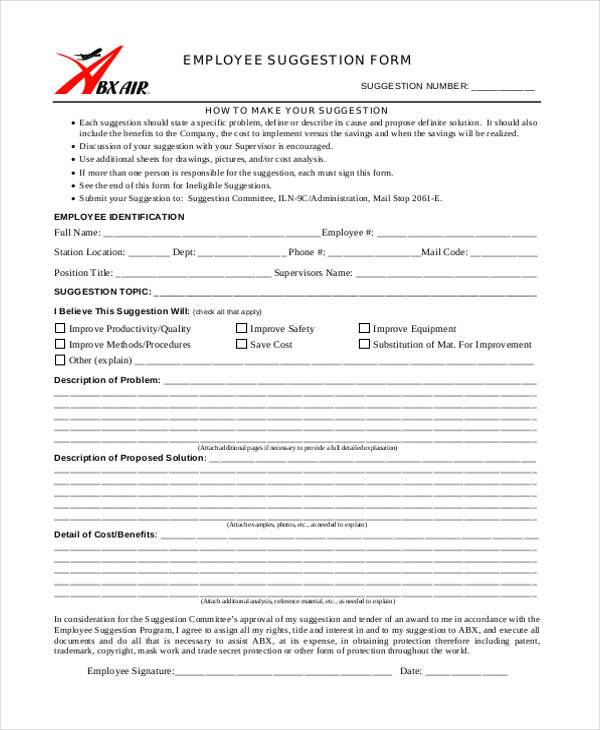Sample Employee Suggestion Forms 7 Free Documents in Word PDF – Employee Suggestion Form