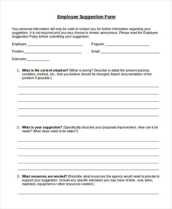 Sample employee suggestion forms 7 free documents in for Employee suggestion box form template