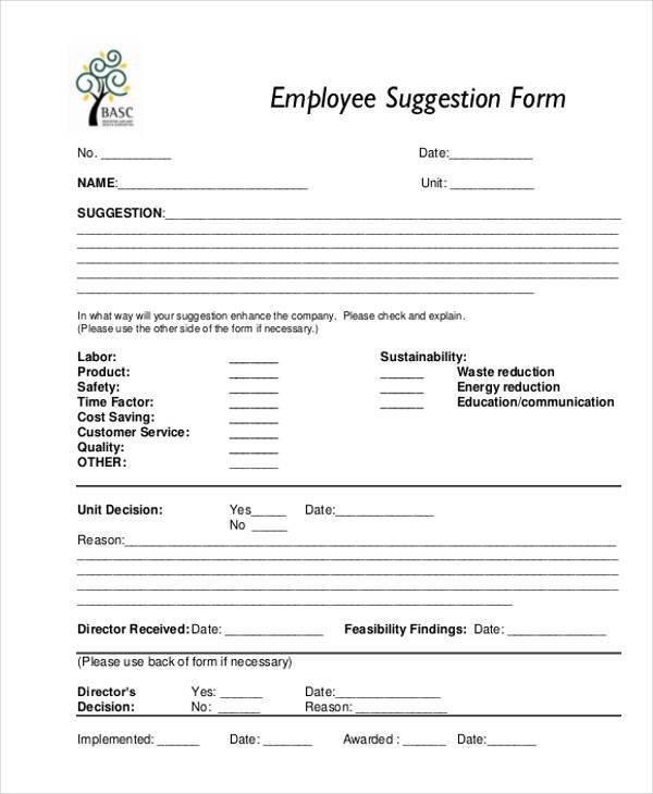 employee suggestion form in pdf