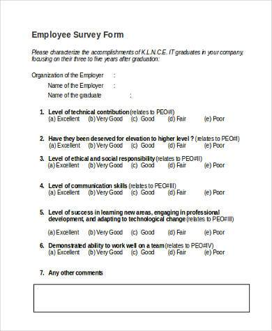 Sample Employer Survey Forms - 8+ Free Documents in Word, PDF