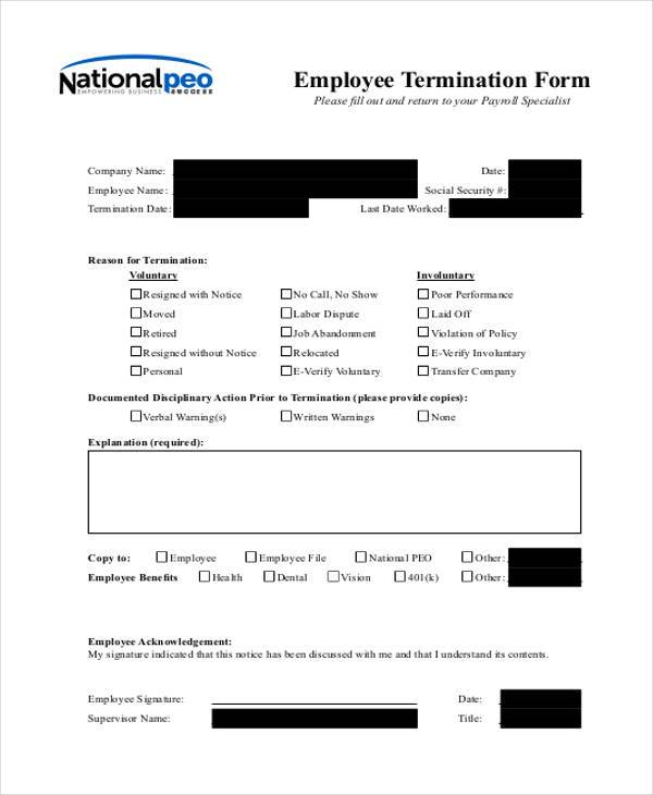 8 Employee Termination Form Samples Free Sample Example Format – Free Employee Termination Form