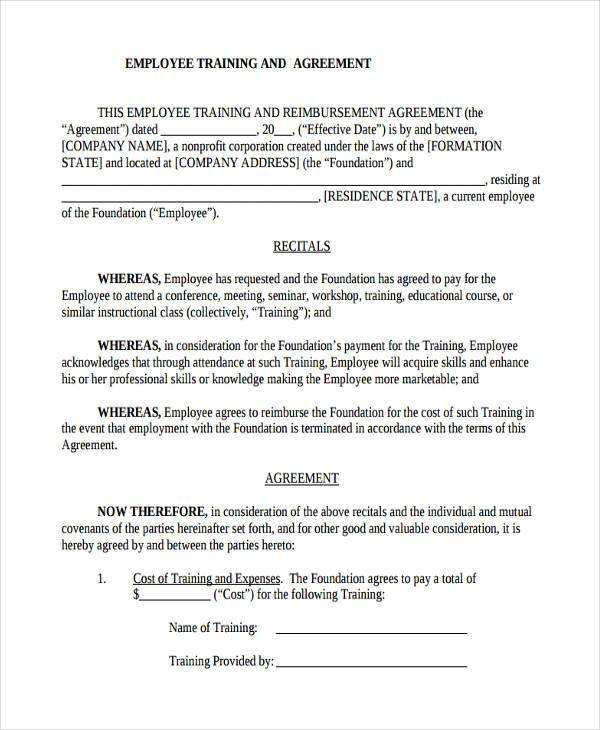 Training Agreement Form Samples  Free Sample Example Format