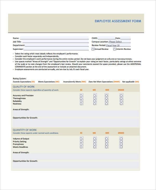 employee training assessment form