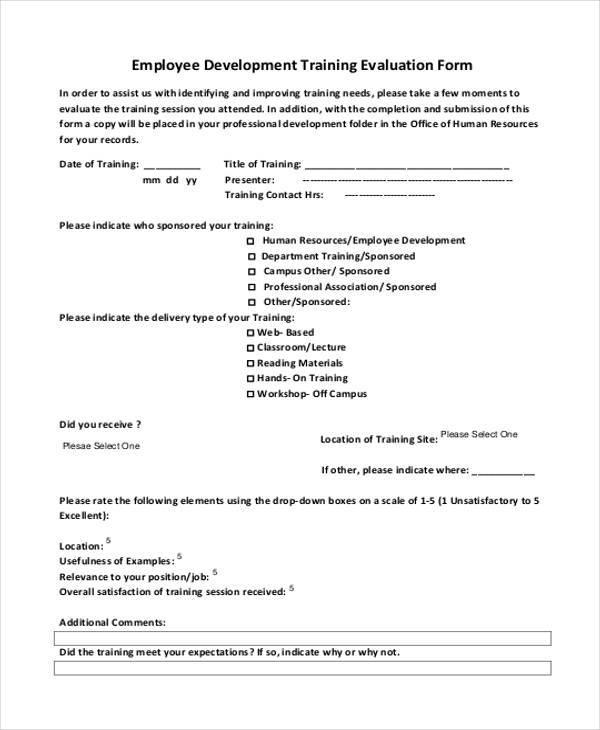 Evaluation Forms In Pdf
