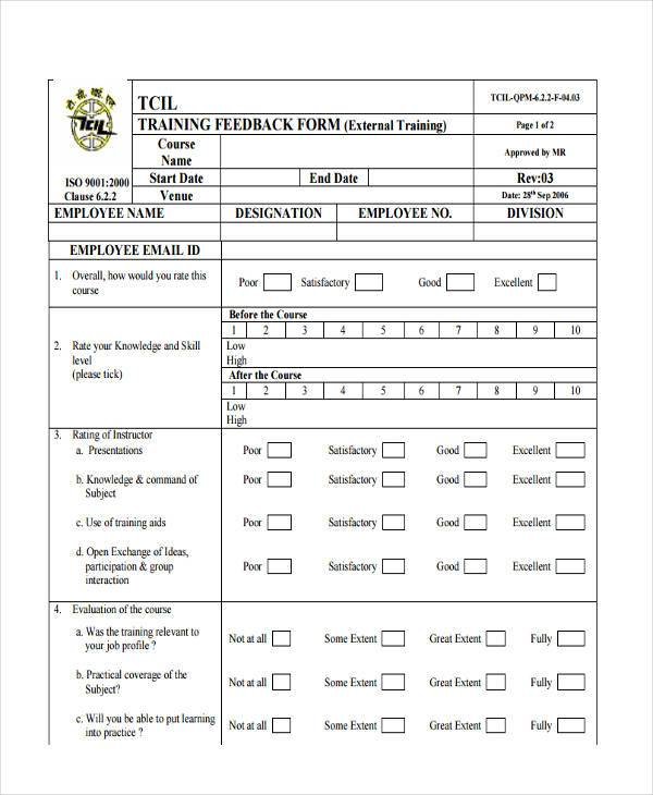 employee training feedback form1