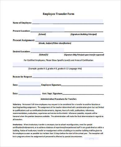 employee transfer form example