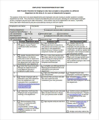 employee transfer form in word format