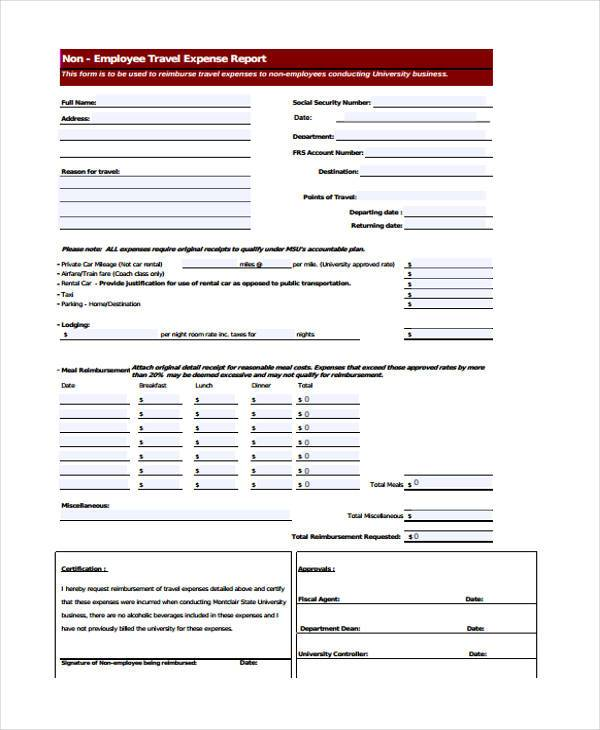 employee travel expense form