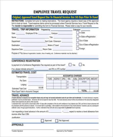 Travel Request Form Samples   Free Documents In Word Pdf