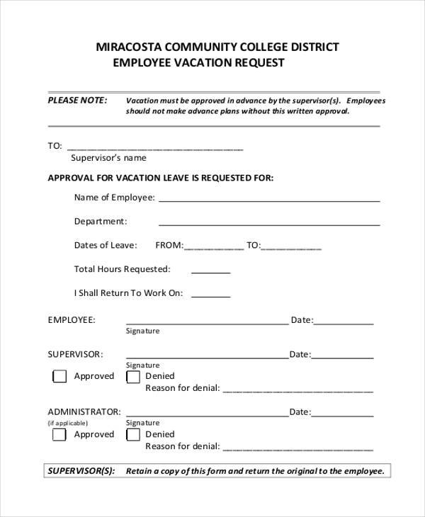 Employee Vacation Request Form In PDF