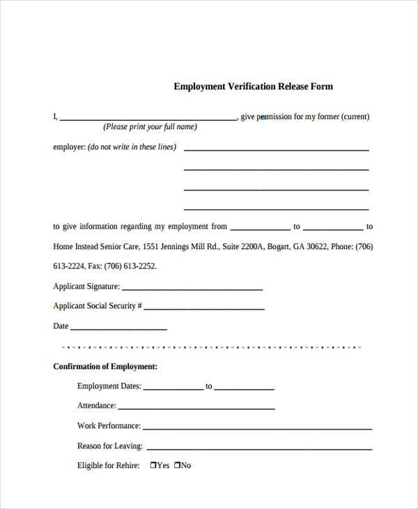 Employment Verification Release Form Template Image Gallery  Hcpr