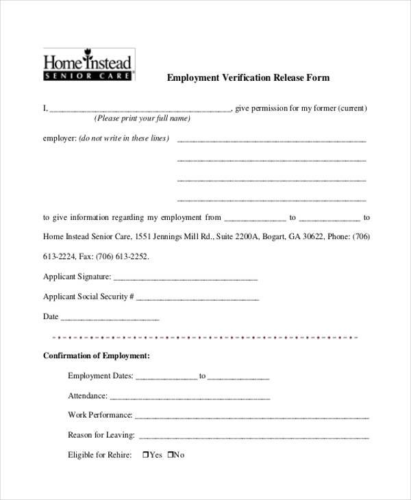 employee verification release form1