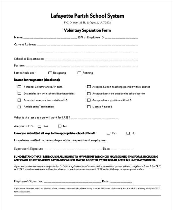 Sample Employment Separation Forms   Free Documents In Pdf