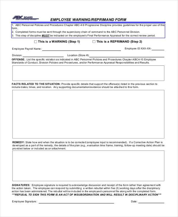 Sample Employee Warning Forms   Free Documents In Word Pdf