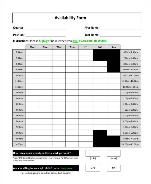 employee weekly availability form