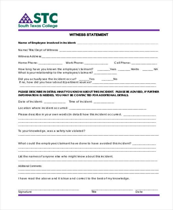 Employment Statement Form Samples  Free Sample Example Format