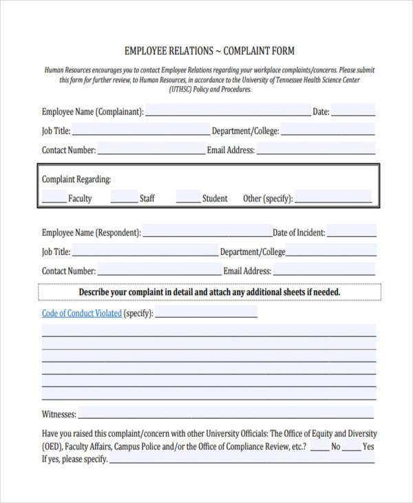 employee workplace complaint form