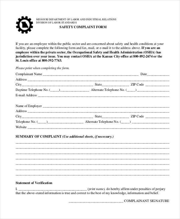 9 Employee Complaint Form Samples Free Sample Example Format – Employee Complaint Form Example