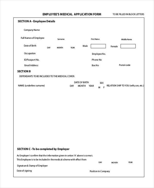employees medical application form