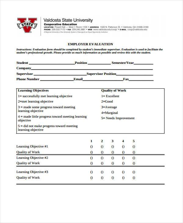 employer evaluation form example