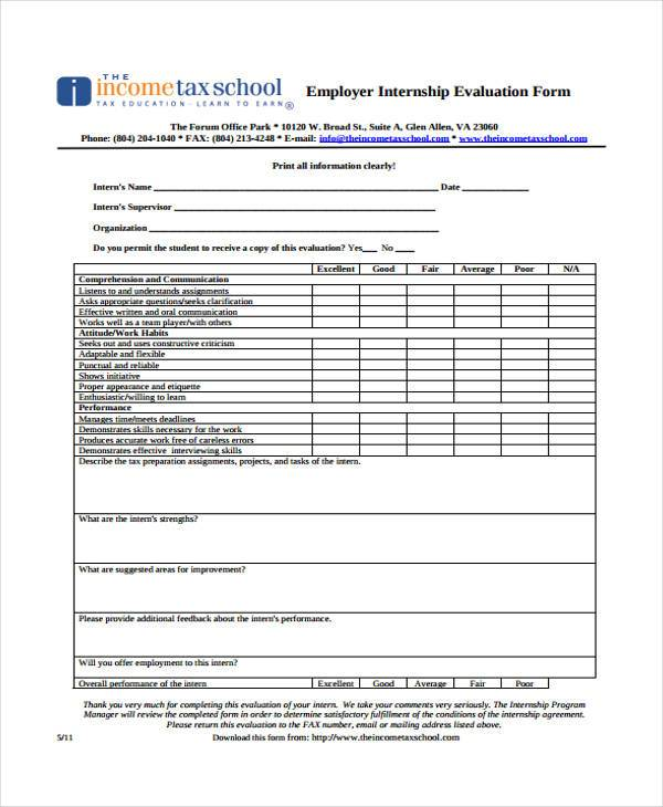 employer internship evaluation form