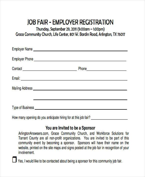 employer job fair registration form