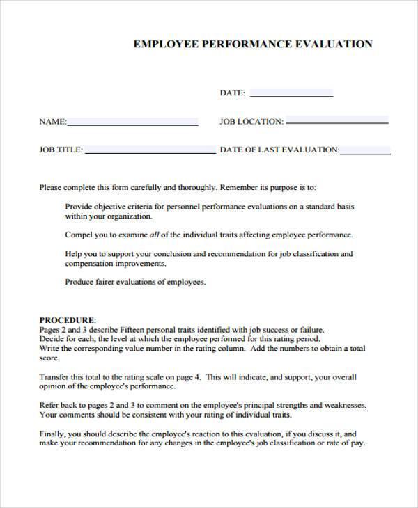 Employer Resume Evaluation Form Vosvetenet – Job Evaluation Template