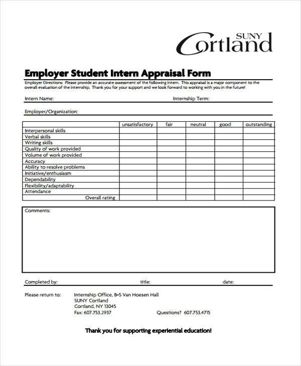 employer student intern appraisal form