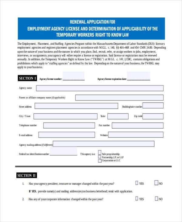 employment agency renewal form