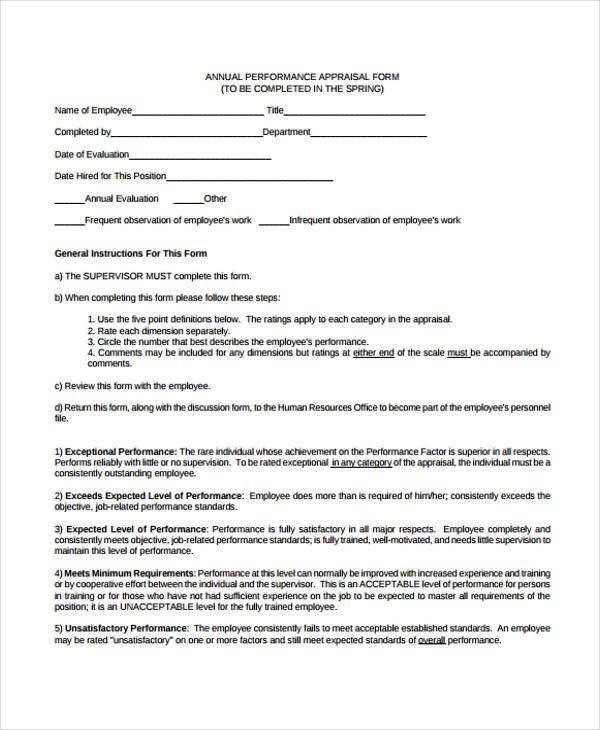 employment annual appraisal form
