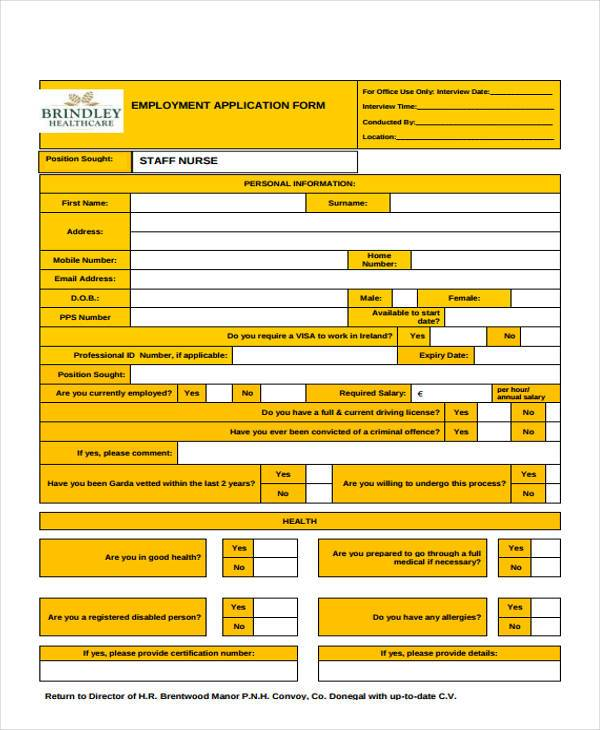 employment application form staff nurse