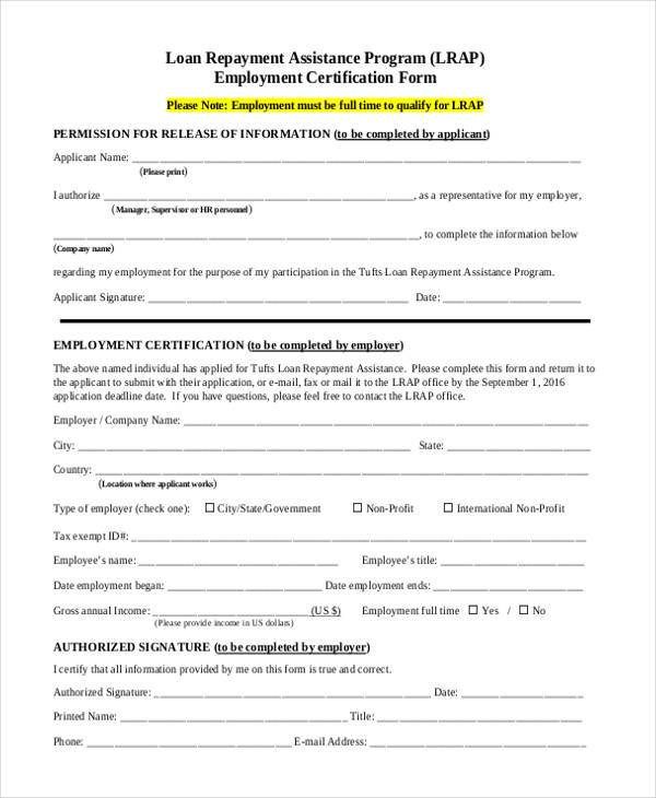 employment certification form example