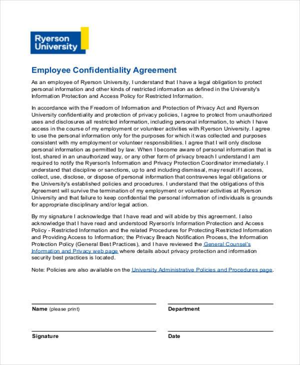 employment confidentiality agreement form