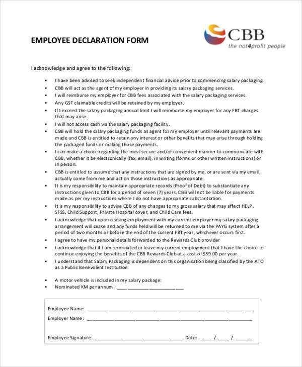 employment declaration form example
