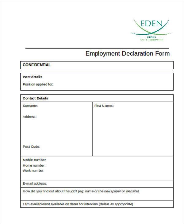 employment declaration form format