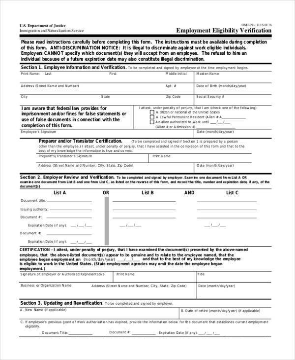 employment eligibility verification form