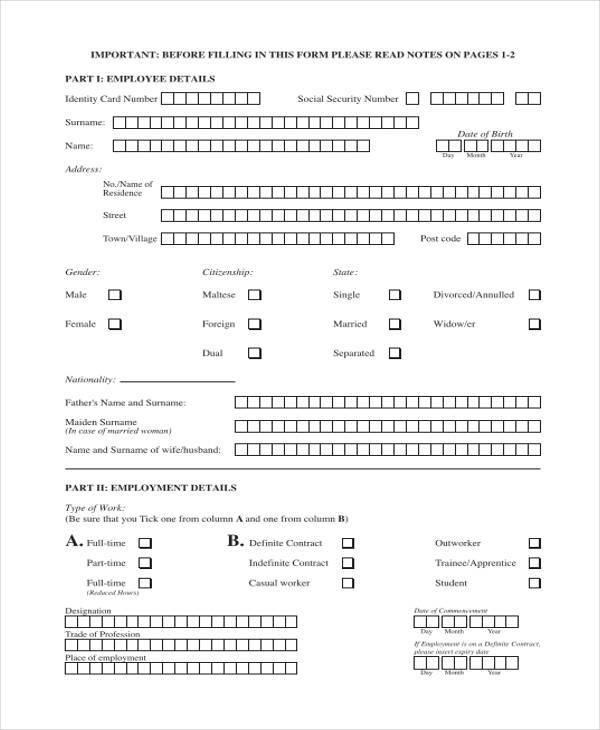 Sample Employment Forms In Pdf   Free Documents In Word Pdf