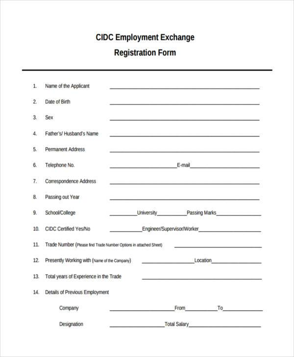sample application form for employment