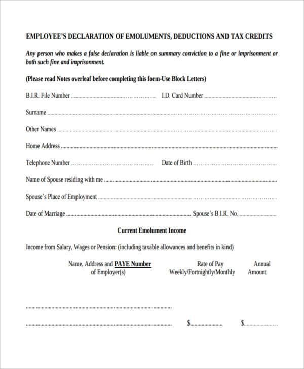 employment expenses deduction form