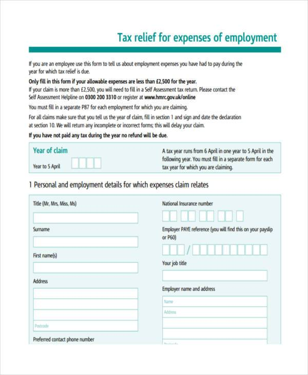 employment expenses tax form