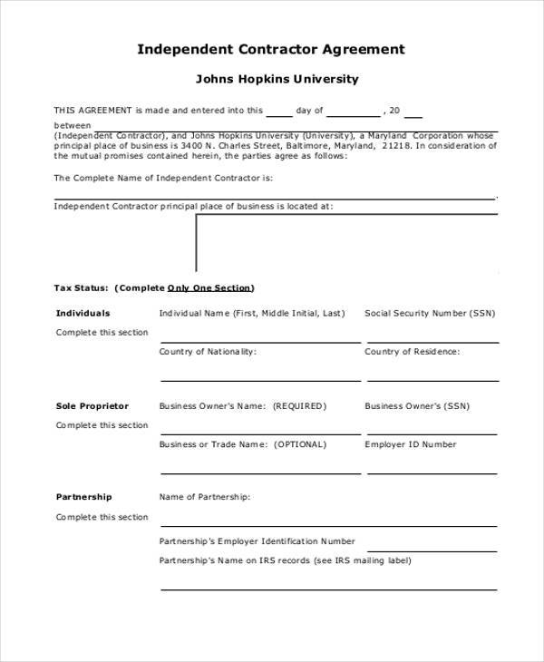 employment independent contractor agreement form
