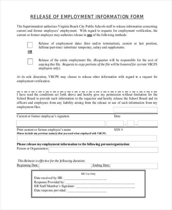 Sample Employment Release Forms 9 Free Documents in PDF – Employee Release Form