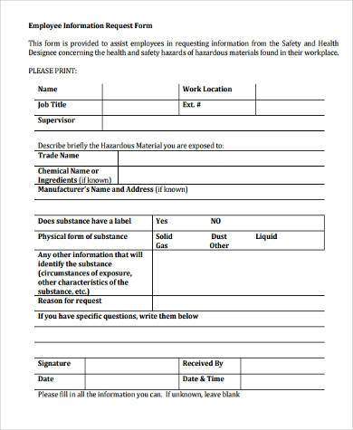 Sample Employment Information Forms   Free Documents In Word Pdf
