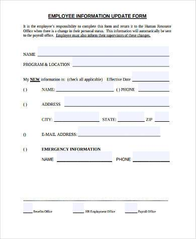 Sample employment information forms 9 free documents in for Update contact information form template