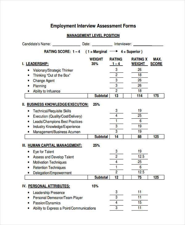 Interview Assessment Form Samples   Free Documents In Word Pdf