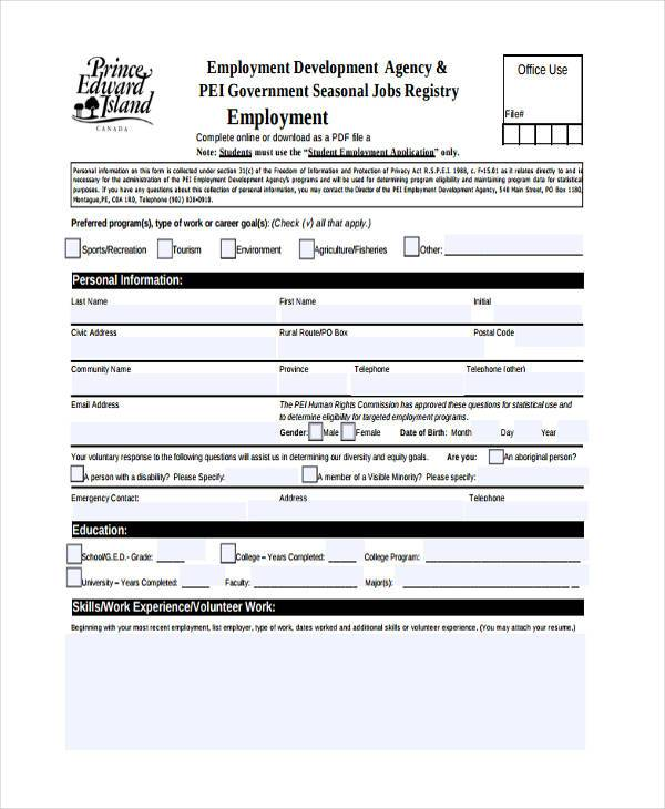 Sample Job Registration Forms   Free Documents In Word Pdf